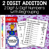 2 Digit and 1 Digit Addition with Regrouping Worksheet