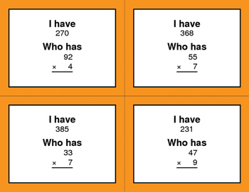 2-Digit and 1-Digit Multiplication - I Have, Who Has