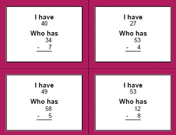 2-Digit and 1-Digit Subtraction - I Have, Who Has
