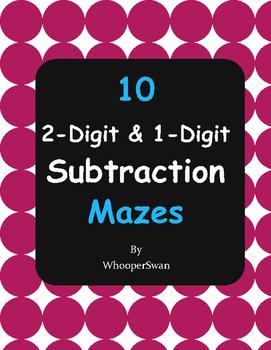 2-Digit and 1-Digit Subtraction Maze
