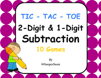 2-Digit and 1-Digit Subtraction Tic-Tac-Toe