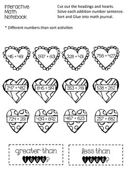 2 Digit and 3 Digit Addition Sort and Interactive Math Notebook Activity