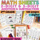2-Digit and 3-Digit Addition & Subtraction Worksheets | Pr