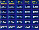 2nd Grade Jeopardy Math Review (Addition, Subtraction, and