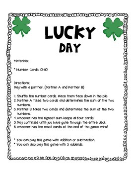 St. Patrick's Day Double and Triple Addition and Subtraction