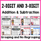 DISTANCE LEARNING 2-Digit and 3-Digit Addition and Subtraction Worksheets BUNDLE