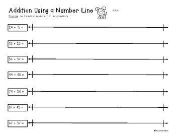 2-Digit and 3-Digit Addition on a Number Line - Practice Worksheet