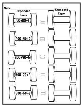 2-Digit and 3-Digit Expanded Form Worksheets