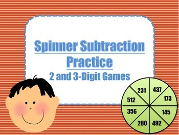2 Digit and 3 Digit Subtraction Spinner Games