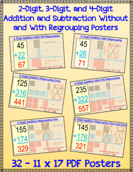 2-Digit and 3-Digit Addition and Subtraction Without and With Regrouping Posters