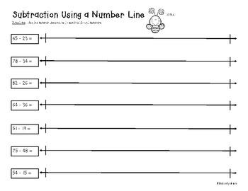 2 Digit and 3 Digit Subtraction on a Number Line - Practice Worksheet