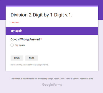 2-Digit by 1-Digit Division - Interactive Digital Task Cards - Google Forms
