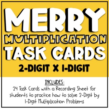 2-Digit by 1-Digit Holiday Multiplication Task Cards