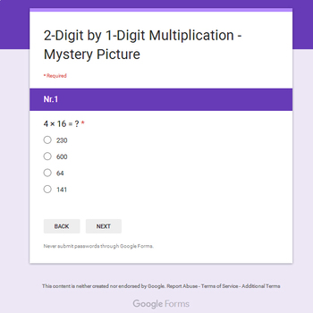 2-Digit by 1-Digit Multiplication - Animals Mystery Picture - Google Forms