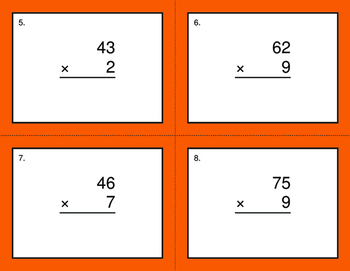 2-Digit by 1-Digit Multiplication BINGO and Task Cards