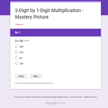 2-Digit by 1-Digit Multiplication - Christmas EMOJI Mystery Picture Google Forms