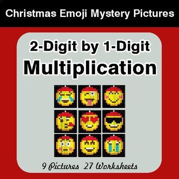 2-Digit by 1-Digit Multiplication Christmas EMOJI Math Mystery Pictures
