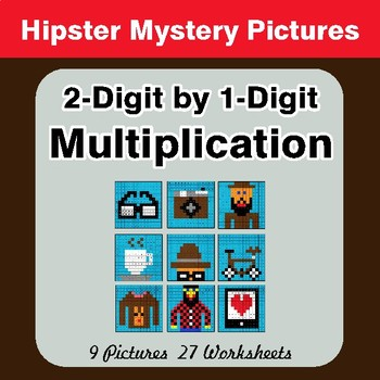 2-Digit by 1-Digit Multiplication - Color-By-Number Math Mystery Pictures
