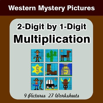 2-Digit by 1-Digit Multiplication - Color By Number Math Mystery Pictures