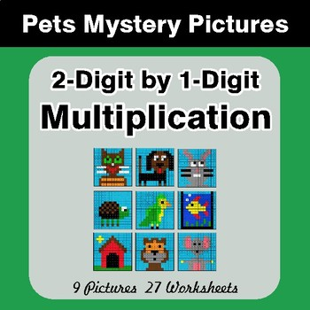 2-Digit by 1-Digit Multiplication - Color-By-Number Mystery Pictures - Pets