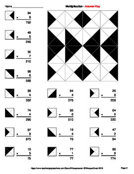 2-Digit by 1-Digit Multiplication - Coloring Worksheets