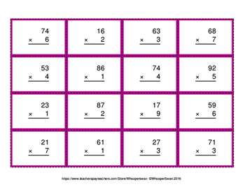 2-Digit by 1-Digit Multiplication - Connect 4 Game