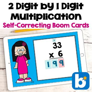 2 Digit by 1 Digit Multiplication Digital Task Cards - BOOM Cards