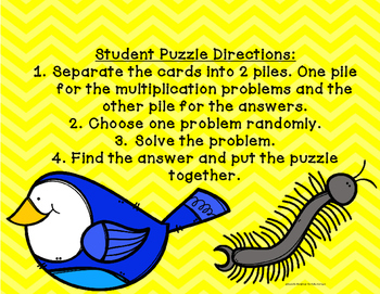 2 Digit by 1 Digit Multiplication EASY CUT Puzzles- Nature Themed