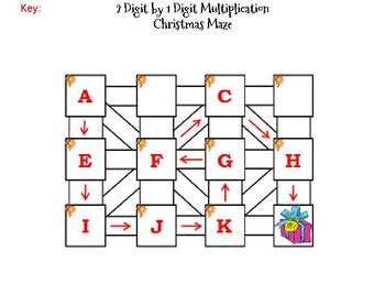 2 Digit by 1 Digit Multiplication Game: Christmas Math Maze
