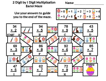 2 Digit by 1 Digit Multiplication Game: Easter Math Maze