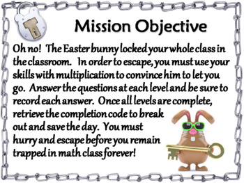 2 Digit by 1 Digit Multiplication Game: Escape Room Easter Math