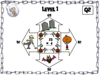 2 Digit by 1 Digit Multiplication Game: Escape Room Halloween Math