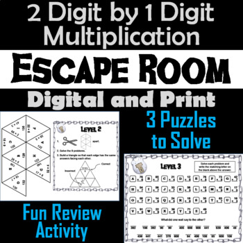 2 Digit by 1 Digit Multiplication Game: Escape Room Math