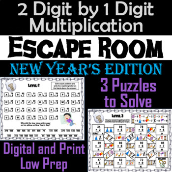 2 Digit by 1 Digit Multiplication Game: Escape Room New Year's Math