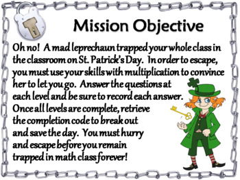 2 Digit by 1 Digit Multiplication Game: Escape Room St. Patrick's Day Math