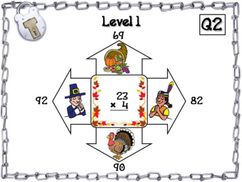 2 Digit by 1 Digit Multiplication Game: Escape Room Thanksgiving Math