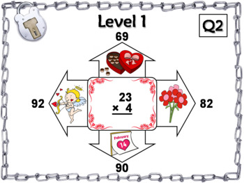 2 Digit by 1 Digit Multiplication Game: Escape Room Valentine's Day Math