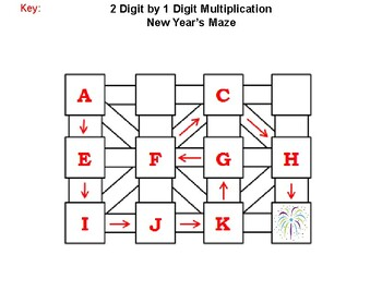 2 Digit by 1 Digit Multiplication Game: New Year's Math Maze