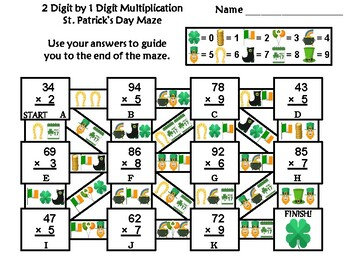 2 Digit by 1 Digit Multiplication Game: St. Patrick's Day Math Maze