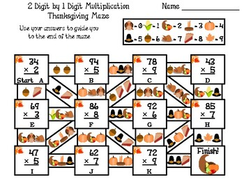 2 Digit by 1 Digit Multiplication Game: Thanksgiving Math Maze