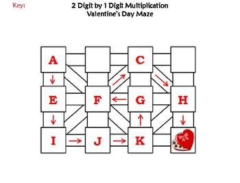 2 Digit by 1 Digit Multiplication Game: Valentine's Day Math Maze
