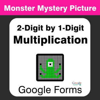 2-Digit by 1-Digit Multiplication - Monster Mystery Picture - Google Forms
