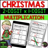 2 Digit by 1 Digit Multiplication Practice (with Christmas Code)