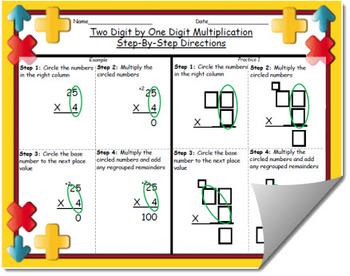 2 Digit by 1 Digit Multiplication Step by Step Worksheet (w/ Practice Template)