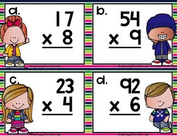 2 Digit by 1 Digit Multiplication Task Cards