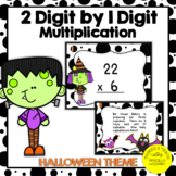 2 Digit by 1 Digit Multiplication Task Cards Halloween Theme