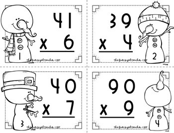 2 Digit by 1 Digit Multiplication Task Cards-Snowman Theme