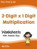 2 Digit by 1 Digit Multiplication Worksheets