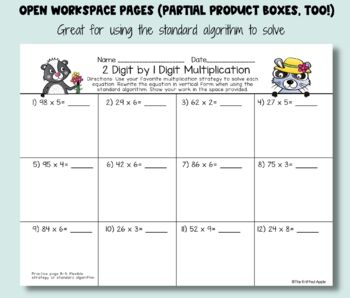 2 Digit by 1 Digit Multiplication using Partial Products {Spring Theme}