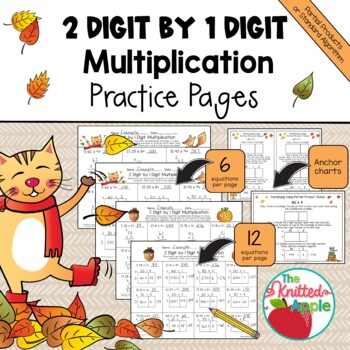 2 Digit by 1 Digit Multiplication using Partial Products {Fall Theme}